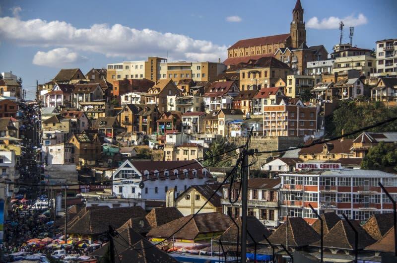 安塔那那利佛市,马达加斯加首都全景  免版税库存照片