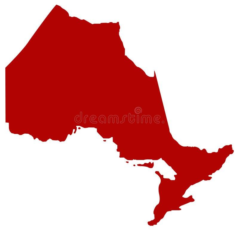 安大略地图-位于位于东部中心位置的加拿大的省 向量例证