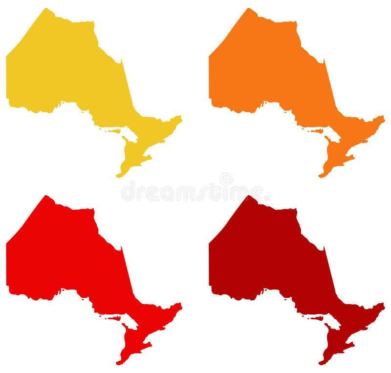 安大略地图-位于位于东部中心位置的加拿大的省 库存例证