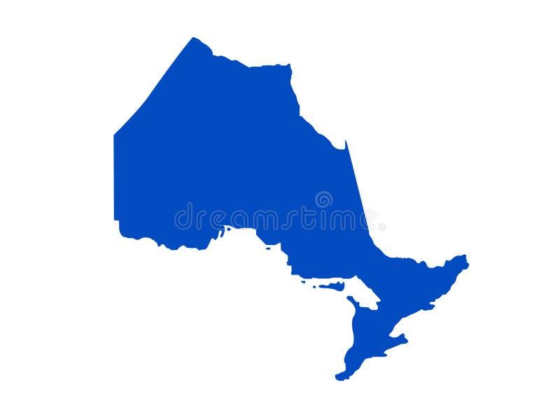 安大略地图-位于位于东部中心位置的加拿大的省 皇族释放例证