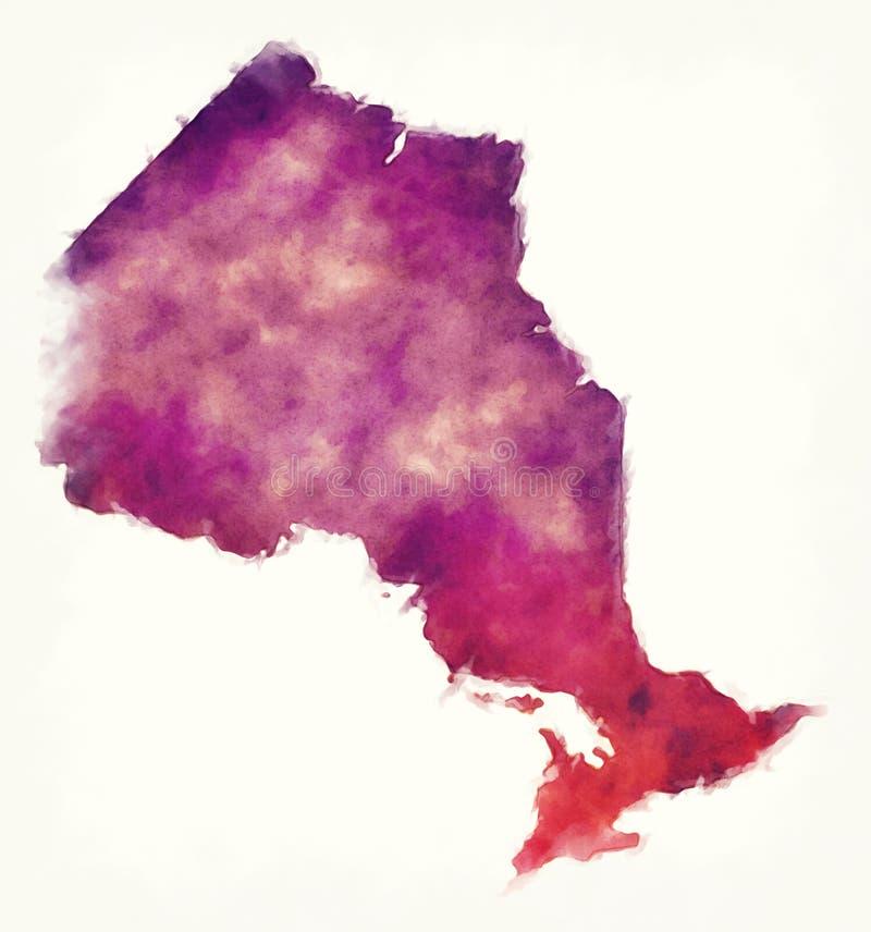 安大略省加拿大的水彩地图在白色ba前面的 向量例证