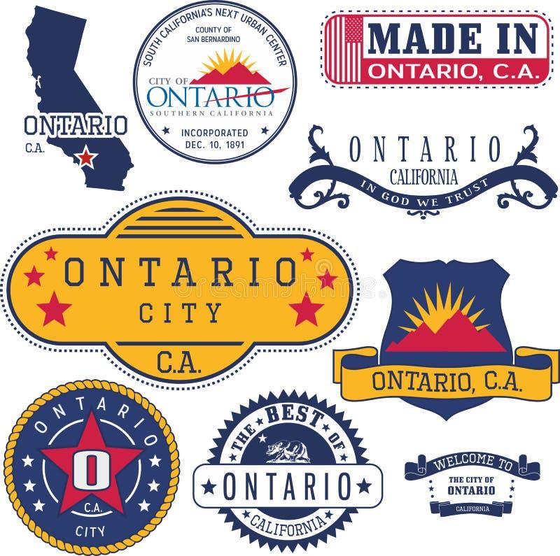 安大略,加州的普通邮票和标志 向量例证