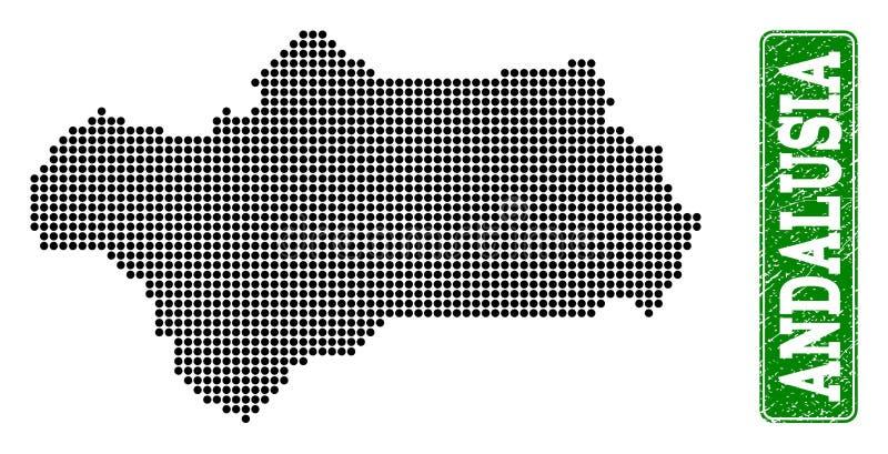 安大路西亚省和难看的东西长方形被加点的地图环绕了说明 向量例证