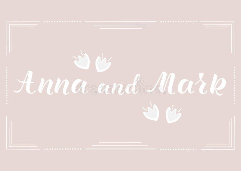 安娜和标记-婚礼邀请,祝贺的词组 免版税库存照片