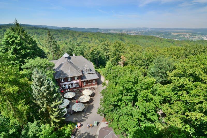 从戴安娜观测塔的看法 karlovy变化 cesky捷克krumlov中世纪老共和国城镇视图 图库摄影