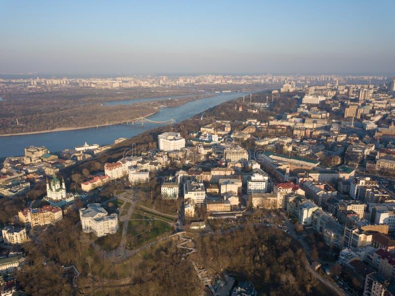 安得烈教会鸟瞰图  基辅老镇, Podile区 库存图片