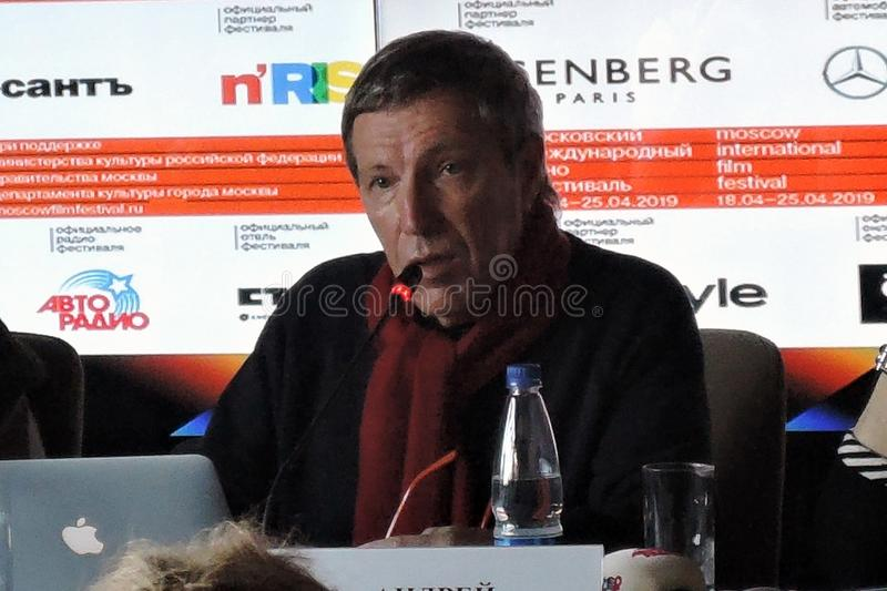 安德烈Plakhov在第41莫斯科国际影片竞赛第一个正式新闻会议  库存照片