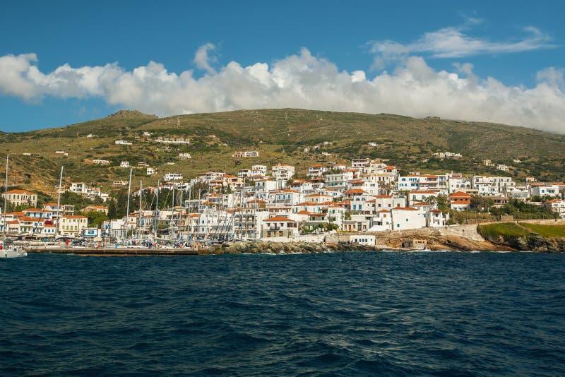 安德罗斯海岛的,爱琴海,希腊海小游艇船坞 自然 库存图片
