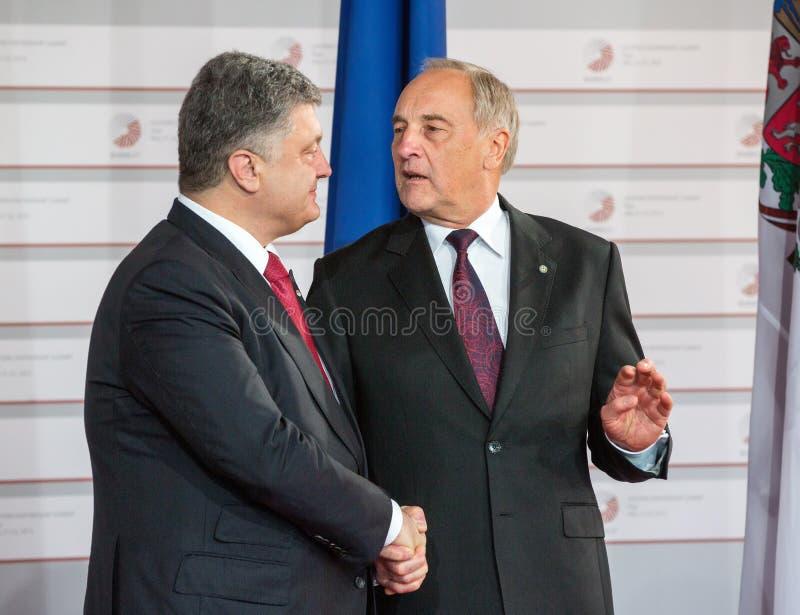 安德里斯・贝尔津什和Petro波罗申科 免版税库存照片