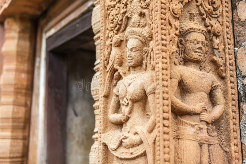 安心雕刻了古老佛教宇宙论石头,泰国 库存照片