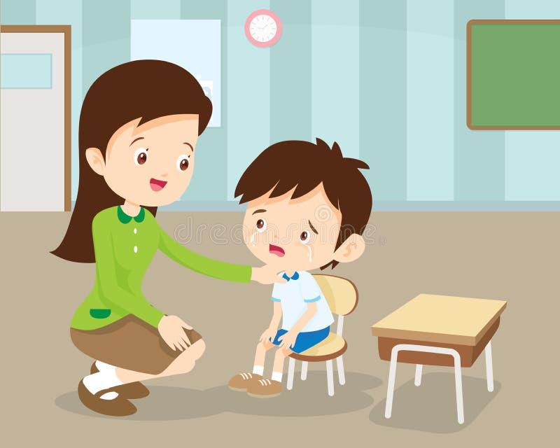 安慰她哭泣的学生的老师 向量例证