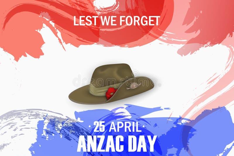 安扎克天鸦片纪念周年假日 忘记,唯恐 安扎克天4月25日澳大利亚战争记忆天海报或greeti 向量例证
