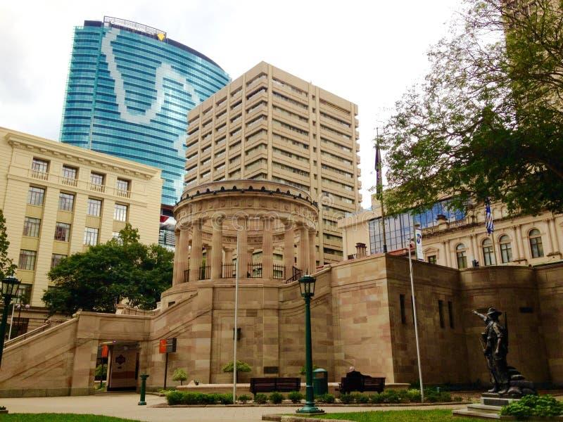 安扎克方形的纪念公园,高层建筑物,布里斯班市,澳大利亚 图库摄影