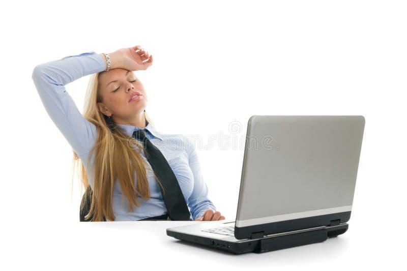 安排的女实业家头疼疲倦 免版税库存照片