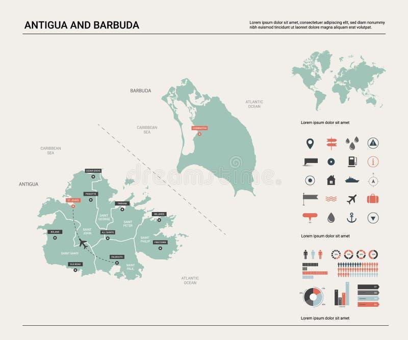 安提瓜和巴布达传染媒介地图  与分裂、城市和资本的高详细的国家地图 政治地图,世界地图, 向量例证