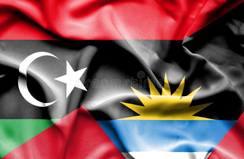 安提瓜和巴布达和利比亚的挥动的旗子 皇族释放例证
