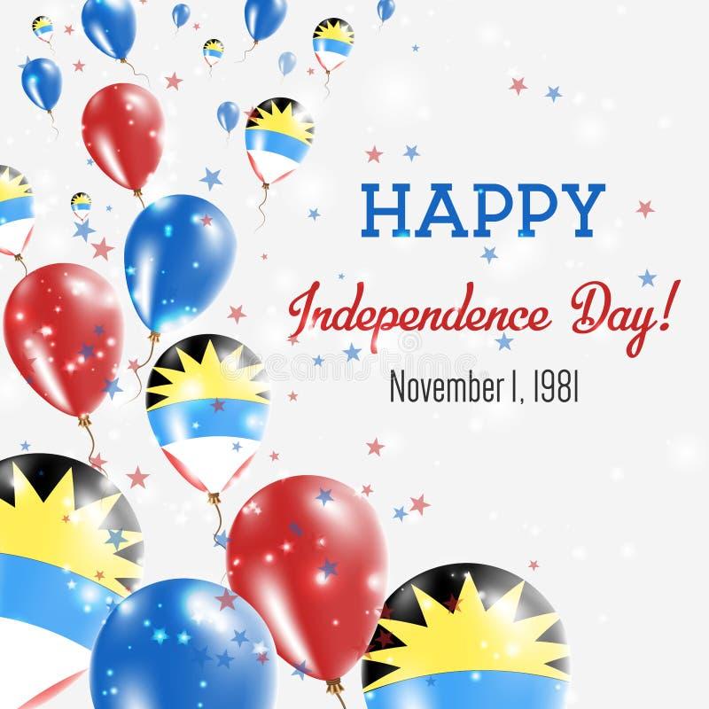 安提瓜和巴布达美国独立日问候 皇族释放例证