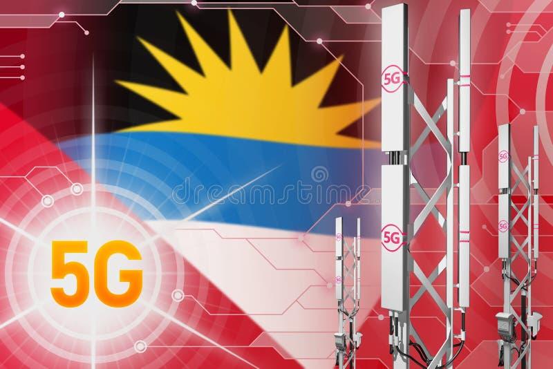 安提瓜和巴布达5G工业例证、大多孔的网络帆柱或者塔在数字背景与旗子- 3D 皇族释放例证