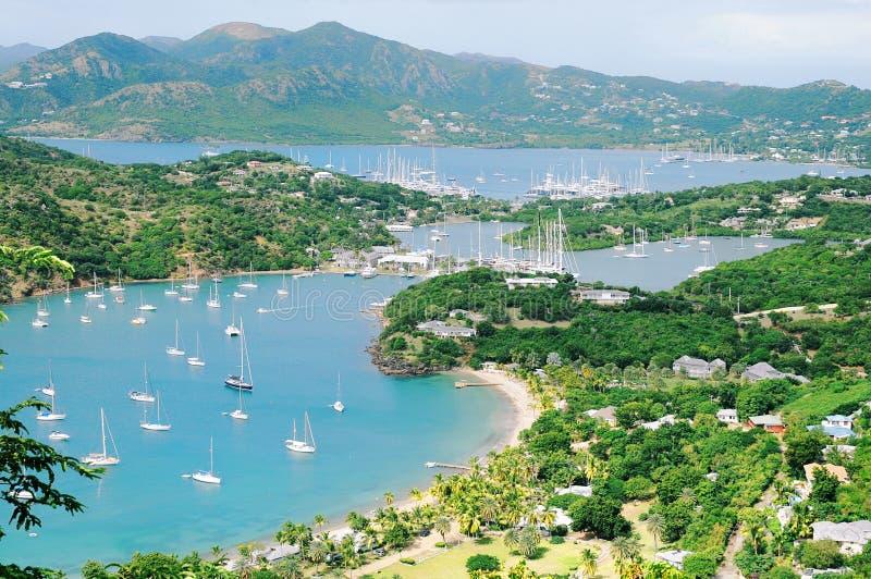 安提瓜岛海岛视图 库存图片