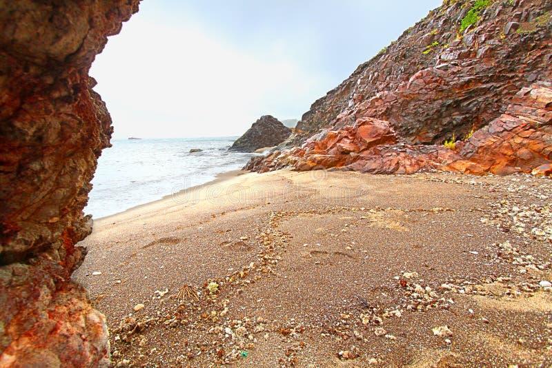 安提瓜岛集合点海滩风景 图库摄影