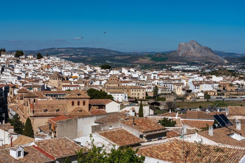 安特克拉的看法在马拉加,安大路西亚,西班牙 免版税库存照片