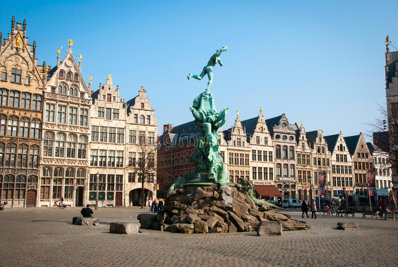 安特卫普老镇,比利时 库存照片