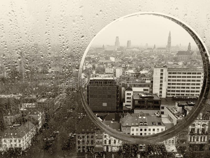 安特卫普通过玻璃舷窗 图库摄影