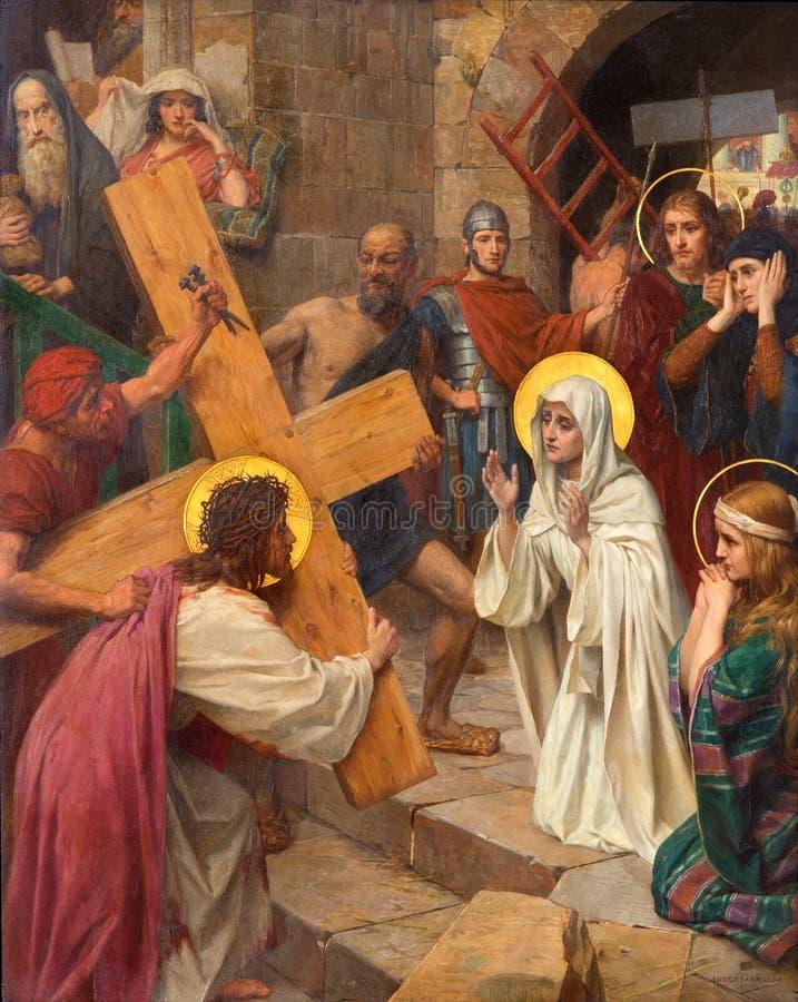 安特卫普-耶稣和玛丽用发怒方式作为周期一部分约瑟夫Janssens从几年1903年- 1910年在我们的夫人大教堂里  库存照片