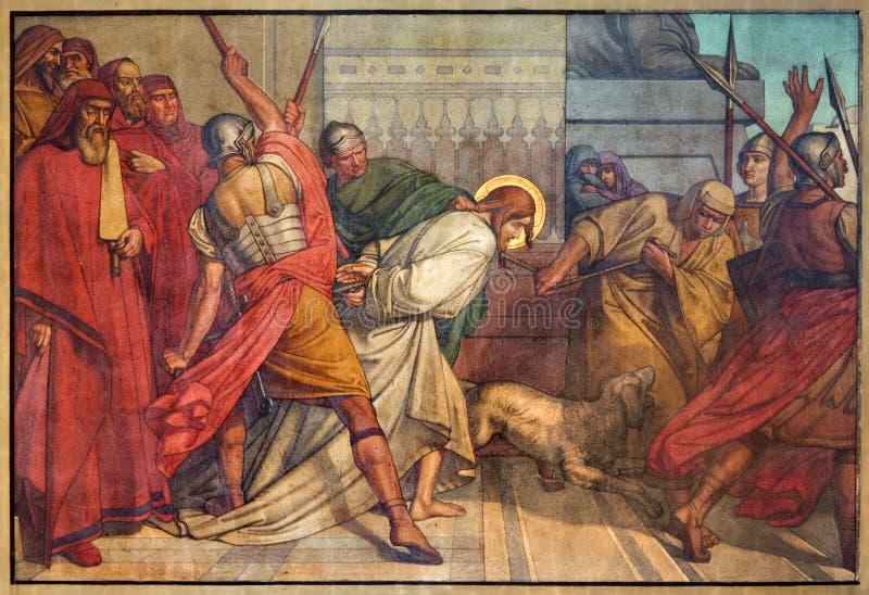 安特卫普-耶稣奴役壁画在从19。分的Joriskerk或圣乔治教会里。 库存照片