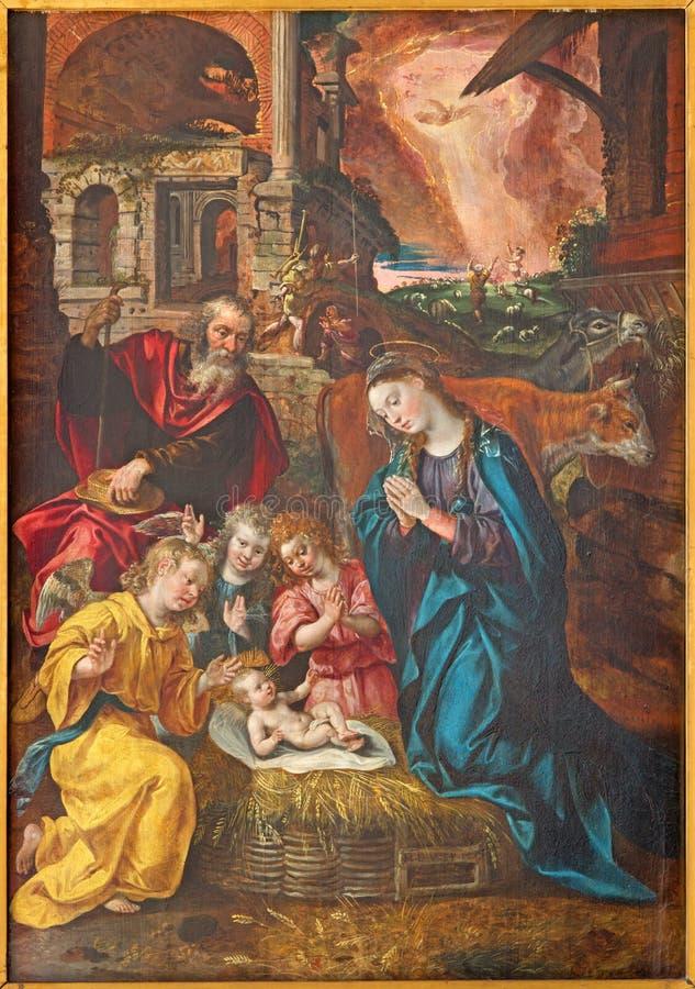 安特卫普-诞生场面油漆马尔滕de Vos从年1577在我们的夫人大教堂里  免版税库存图片