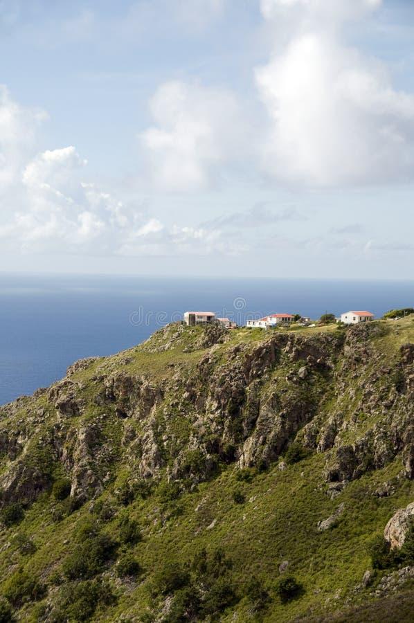 安的列斯群岛峭壁荷兰语房子荷兰saba 免版税库存照片