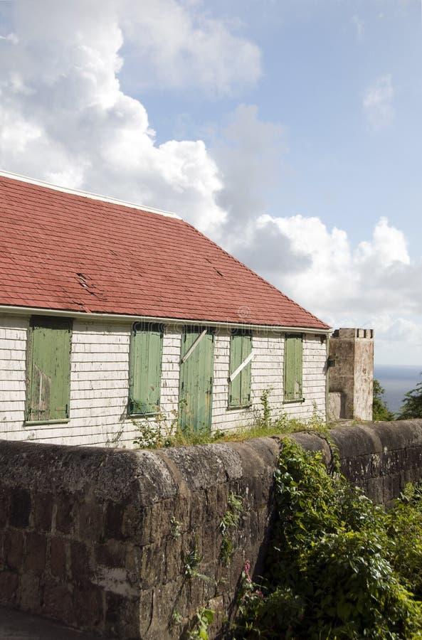 安的列斯群岛荷兰语房子老saba 免版税库存图片
