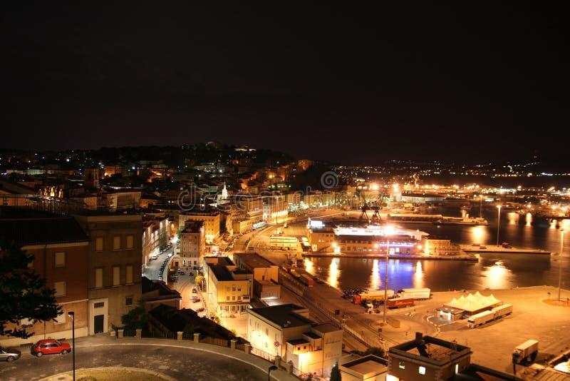 安科纳市意大利晚上视图 库存照片