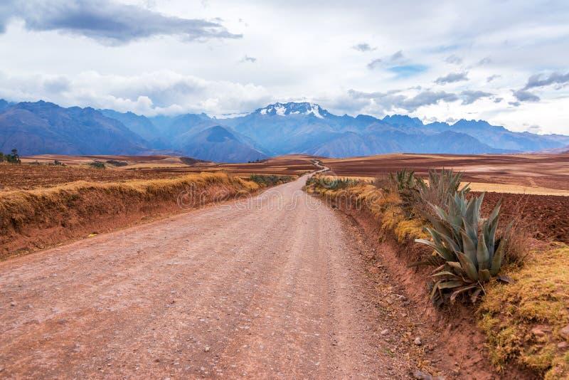 安第斯山脉和土路 库存照片