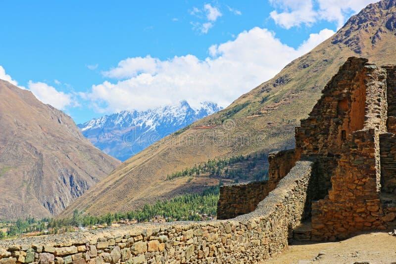 安第斯山脉Ollantaytambo秘鲁 免版税库存照片