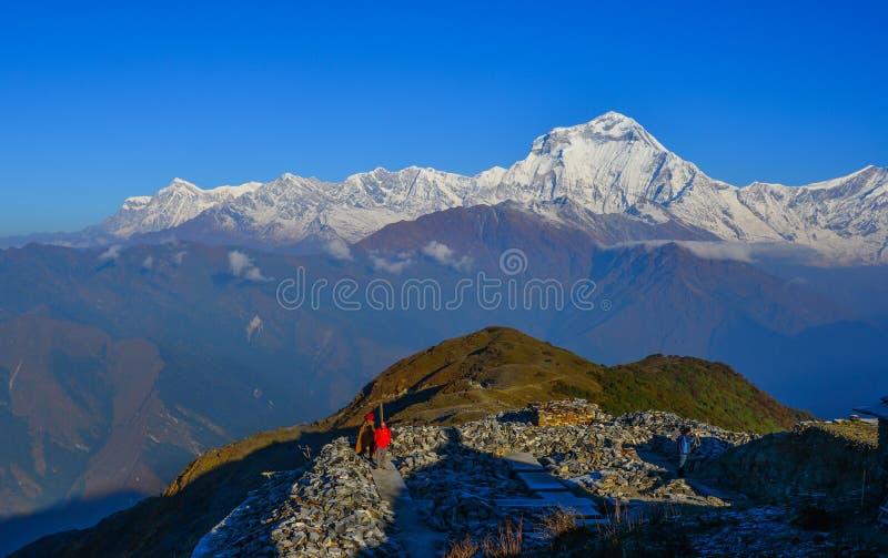 安纳布尔纳峰范围美好的雪峰顶  图库摄影