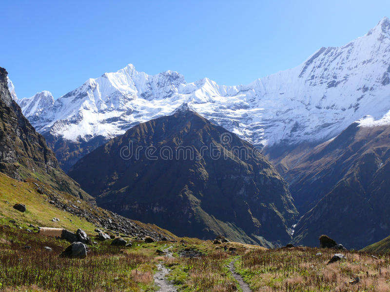 从安纳布尔纳峰营地的登上Machhapuchchhre 免版税库存图片