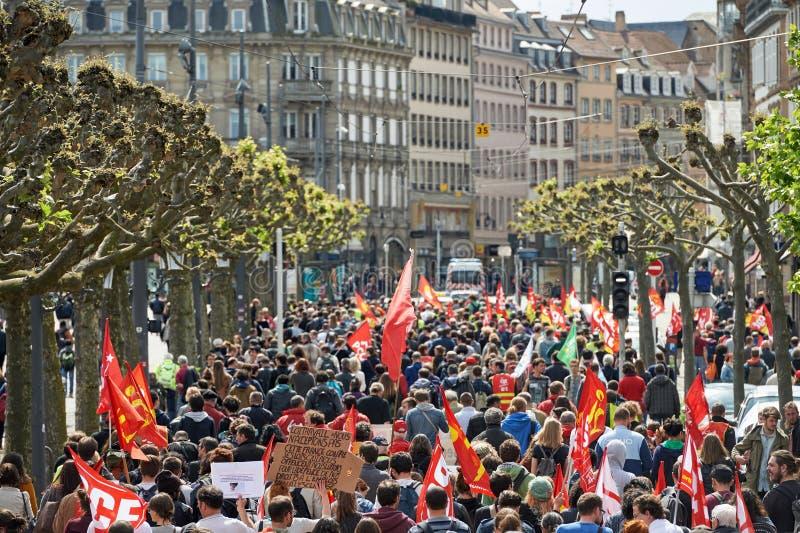 安置与抗议者的Broglie反对劳工法 免版税图库摄影