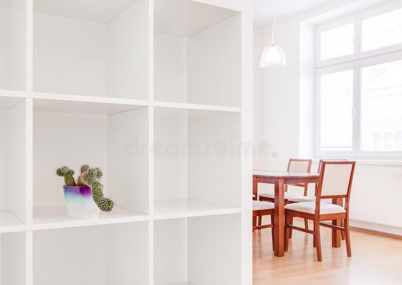 安置与仙人掌罐的内部白色厨房照片 库存图片