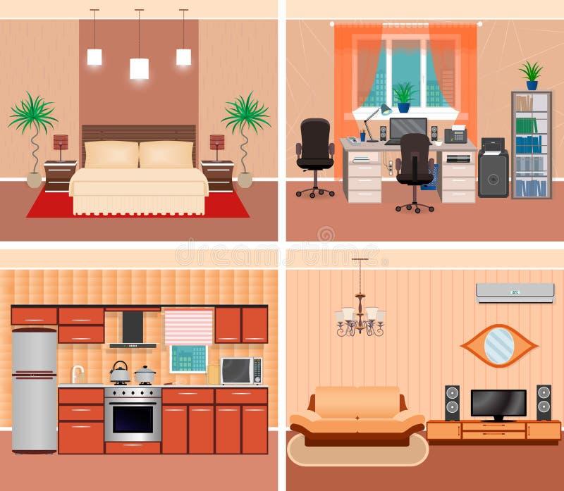 安置内部客厅、国内工作场所、卧室和厨房 家庭设计包括家具和electonics 库存例证
