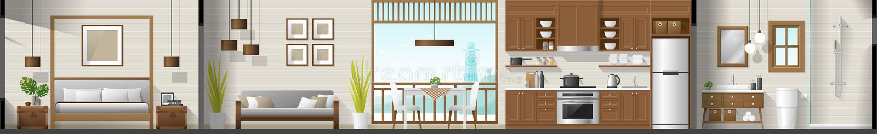 安置内部部分全景包括卧室、客厅、餐厅、厨房和卫生间 库存例证