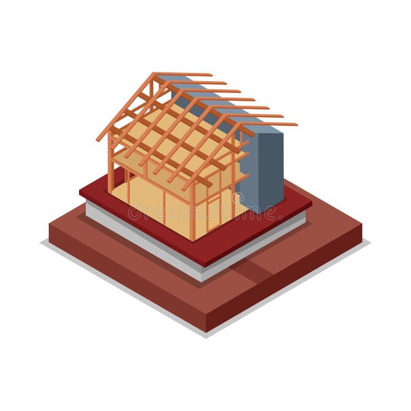 安置屋顶并且围住框架等量3D象 向量例证