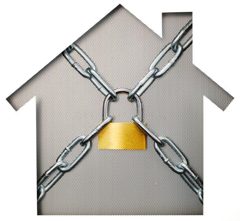 安置形状的纸保险开关和挂锁在猛击的金属 库存照片