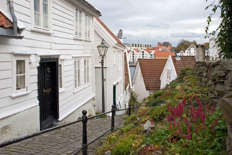 安置挪威木的斯塔万格 免版税库存照片