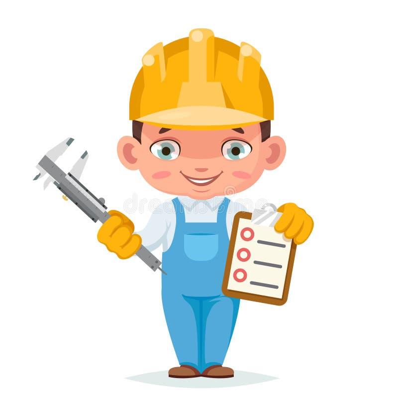安置测量纪录手中建造者工程师漫画人物的检查专业工作服工具片剂 库存例证