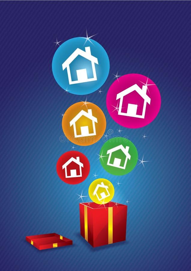 安置浮动从礼物盒 库存例证