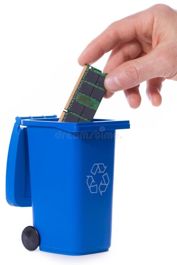 安置记忆入垃圾回收站 免版税库存图片