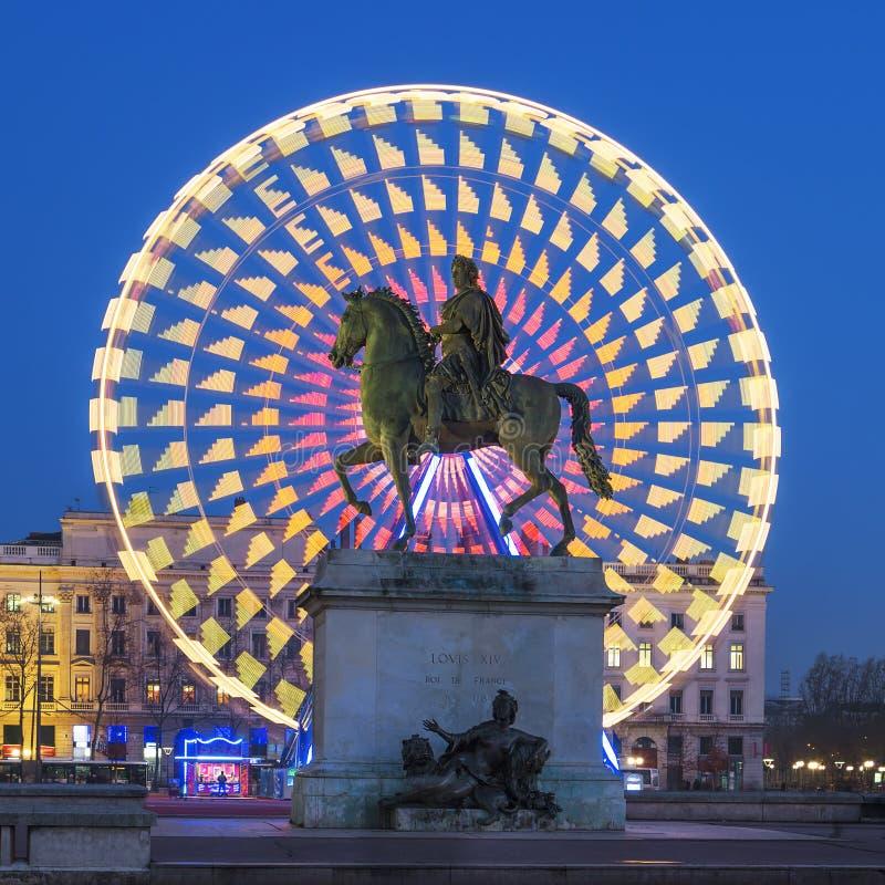 安置路易十四,利昂国王Bellecour雕象  库存图片