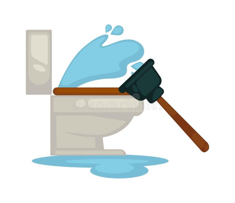 安置配管洗手间漏出或堵塞的水管工修理工具传染媒介象 皇族释放例证