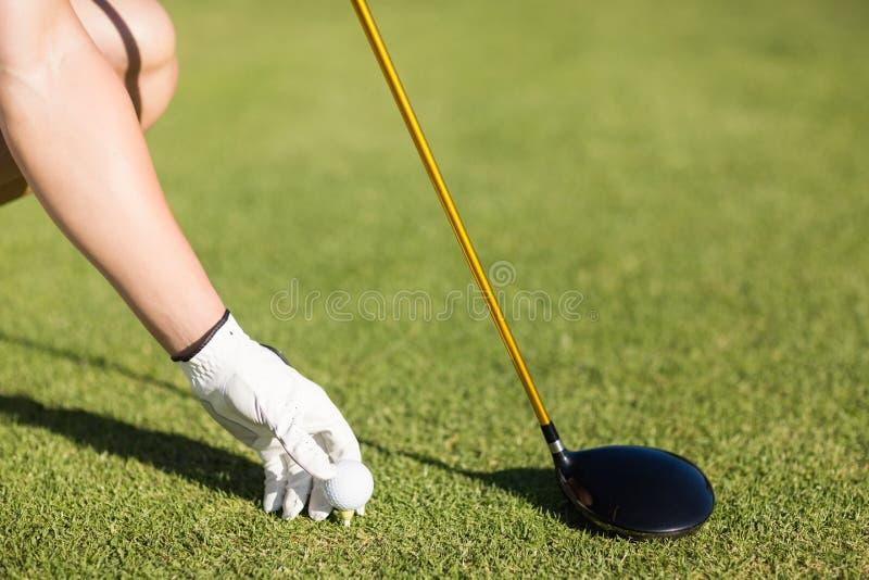 安置高尔夫球的高尔夫球运动员人的播种的图象在发球区域 免版税库存照片